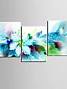 ensemble de 3 fleurs bleues abstraites modernes de toile toiles tendues pret a accrocher