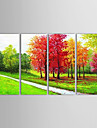 Oil Painting Landscape Woods by River with Stretched Frame Set of 4 1311-LA1144 Hand-Painted Canvas