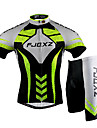FJQXZ Men\'s Short Sleeve Cycling Jersey + Shorts 3D Slim Cut Summer UV Resistant Cycling Suit - Black + Green + White