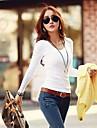 Tee-shirt Aux femmes Manches Longues Col en V Coton