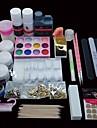 46pcs pro nail art kit de conception appret acrylique poudre manucure set