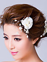 Women\'s Imitation Pearl / Fabric Headpiece-Wedding / Special Occasion Flowers / Hair Pin White
