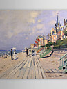 handmålade oljemålning The Boardwalk at Trouville av Claude Monet med sträckt ram