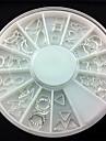 48st mixs mönster silver metall cirkel nail art dekorationer