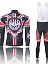 WEST BIKING® Cykeltröja med Bib-tights Herr Lång ärm Cykel Andningsfunktion / Snabb tork / Anatomisk design / 3D Pad / ReflexremsaTröja /