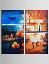 handgeschilderde olieverf abstracte wereld kleurrijke moderne kunst met gestrekte frame