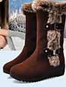 Chaussures Femme - Decontracte - Noir / Marron - Talon Bas - Bottes de Neige - Bottes - Faux Cuir