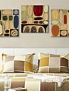 Reproduction transferee sur toile art abstrait colore Galets Lot de 3