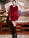 Women\'s Fox Fur Slim Coat(More Colors)