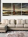 Sträckt Canvastryck konst Arkitektur Golden Gate Bridge Set om 3