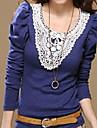 dentelle manches bouffantes elegant collier orne bleu chemisier