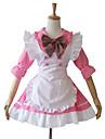 Une Piece/Robes Tenus de Servante Doux Lolita Cosplay Vetrements Lolita Mosaique Manches mi-longues Court Robe Tablier Pour Coton