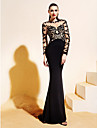 TS Couture® Formal Evening Dress - Black Trumpet/Mermaid Bateau Sweep/Brush Train Jersey