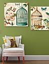 e-home® lona esticada aves de arte e flores conjunto pintura decorativa de 2