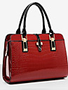 Women Patent Leather Flap Shoulder Bag / Tote - Beige / Blue / Black / Burgundy