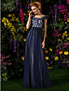 A-line Plus Sizes / Petite Mother of the Bride Dress - Dark Navy Floor-length Short Sleeve Tulle / Lace