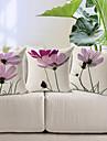 uppsättning av 3 eleganta ljuslila blommönster bomull / linne dekorativa örngott