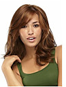 Capless brunt långt högkvalitativa naturliga lockigt syntetisk peruk med sidan bang