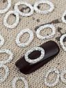 50st silver nail art legering smycken ovala metalliska spik tips vernish naglar Deco för daglig diy manikyr