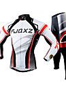 FJQXZ Maillot et Cuissard Long de Cyclisme Homme Manches Longues Velo Ensemble de VetementsSechage rapide Resistant aux ultraviolets Zip