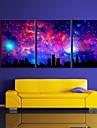 e-Home® sträckt ledda kanvastryck konst himlen stadsblixteffekt ledde set om 3