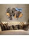 3d väggdekorationer väggdekaler, stil elefant tvättbara pvc väggdekorationer