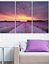e-HOME flores de lavanda reloj en la lona 3pcs
