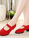 Chaussures de danse(Noir RougeTalon Plat-Cuir-Baskets de Danse