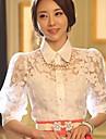 Women\'s Summer Shirt,Solid Shirt Collar ½ Length Sleeve White Polyester Thin