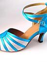 latin anpassnings kvinnors sandaler satin med gnistrande glitter dansskor