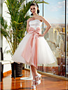 Lanting Bride® Ball Gown Petite / Plus Sizes Wedding Dress Knee-length Strapless Tulle with