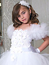 A-line Knee-length Flower Girl Dress Sleeveless Off-the-shoulder with Flower(s)