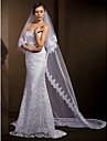 bruiloft sluiers vrouwen elegante tule two-tier kant applique rand sluiers