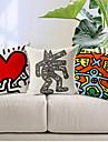 set om 3 modern stil cartoon mannen mönstrad bomull / linne dekorativa örngott