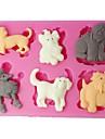 fyra c silikon tårta mögel husdjur hundar tårta prägling mögel färgen rosa
