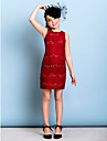 Short / Mini Lace Junior Bridesmaid Dress Sheath / Column Jewel with Beading / Sequins