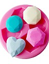 Four-C gumpaste moules differents moule diamant de silicone pour la couleur de gateau rose