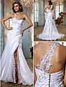 Lan Ting Trumpet/Mermaid Plus Sizes Wedding Dress - White Sweep/Brush Train Sweetheart Organza