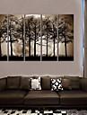 e-FOYER toile tendue art la nuit sous les ombres des arbres peinture decoration ensemble de cinq