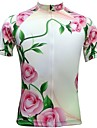JESOCYCLING Maillot de Cyclisme Femme Manches Courtes Velo Maillot Hauts/Tops Sechage rapide Respirable Poche arriere 100 % Polyester