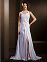 Lanting Bride A-line Petite / Plus Sizes Wedding Dress-Court Train Halter Chiffon