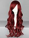 mode tecknad mörkröd lockigt hår peruk