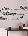autocolante de perete decalcomanii de perete, stil dragoste&râde&trăi cuvinte în limba engleză&citate autocolante de perete