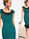 Robes ( Coton melange ) Bodycon/Mignon/Soiree Rond a Manches courtes pour Femme