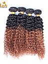 """3st / lot 10 """"-26"""" ombre hår malaysianen jungfru mänskliga hårförlängningar / väva buntar färg 1b30 kinky lockigt mänskliga hårwefts"""