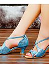 Chaussures de danse(Bleu Argent Or) -Non Personnalisables-Talon Bottier-Satin-Latine