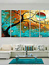 E-HOME® Stretched Canvas Art The Colorful Tree Decorative Painting  Set of 5