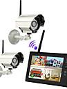 """nouvelle 4CH Wireless quad DVR 2 cameras avec systeme de securite a la maison de moniteur 7 """"TFT-LCD"""