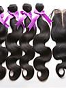 4st / lot indiskt jungfru hår med stängning 3 buntar obearbetat indian kropps hårträns med spets stängning