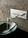 Wall Mounted Chromed Copper Waterfall Bathroom Sink Faucet - Silver